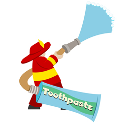 fireman squirting toothpaste from a hose