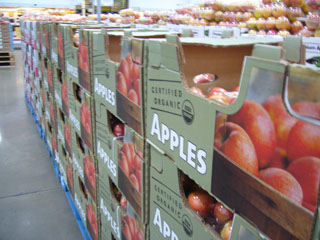 Apples in Cartons in Warehouse Store