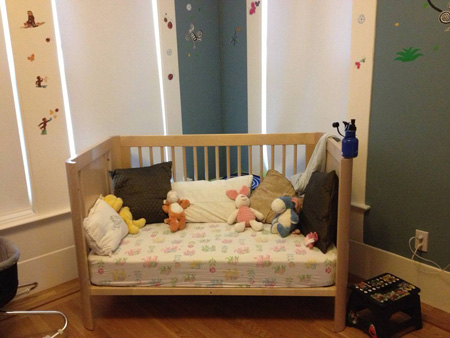 Loveseat made from a Crib