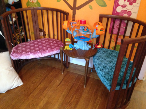 Two chairs made from Stokke bed